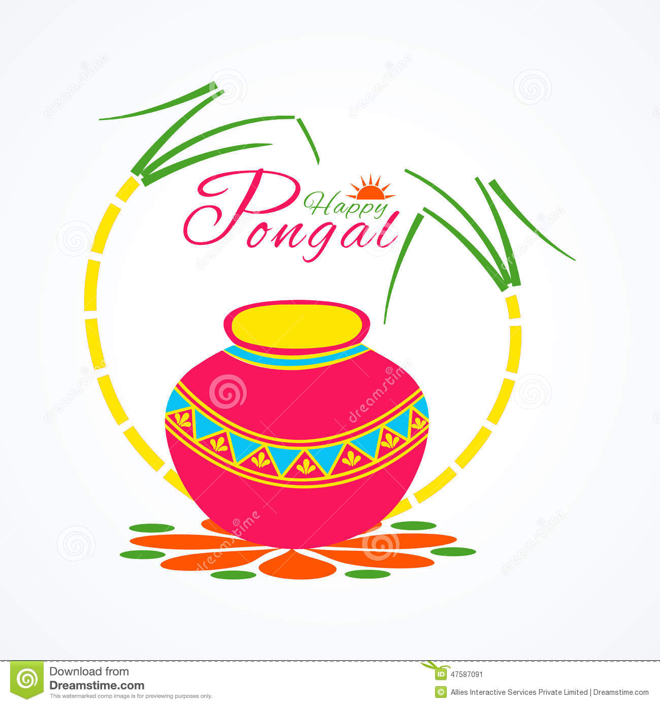 Traditional Pot With Sugarcane For Happy Pongal Festival