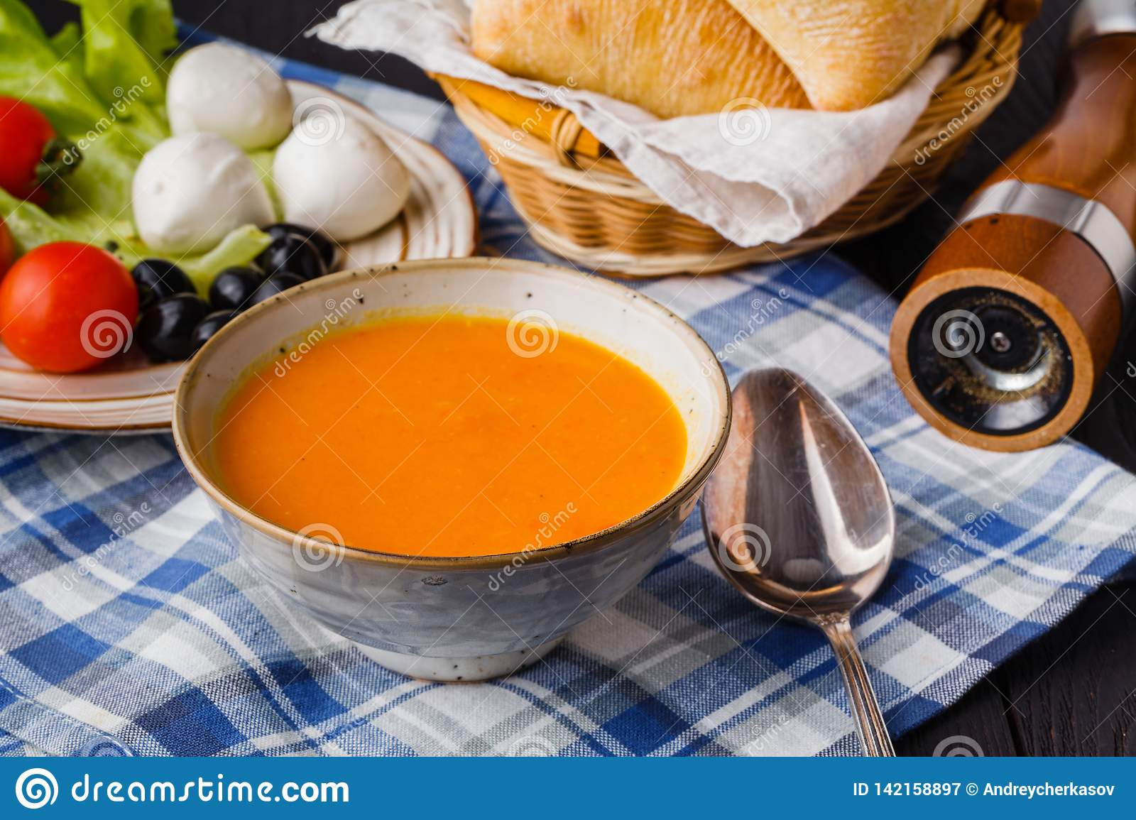 Traditional pumpkin soup, tasty and warming