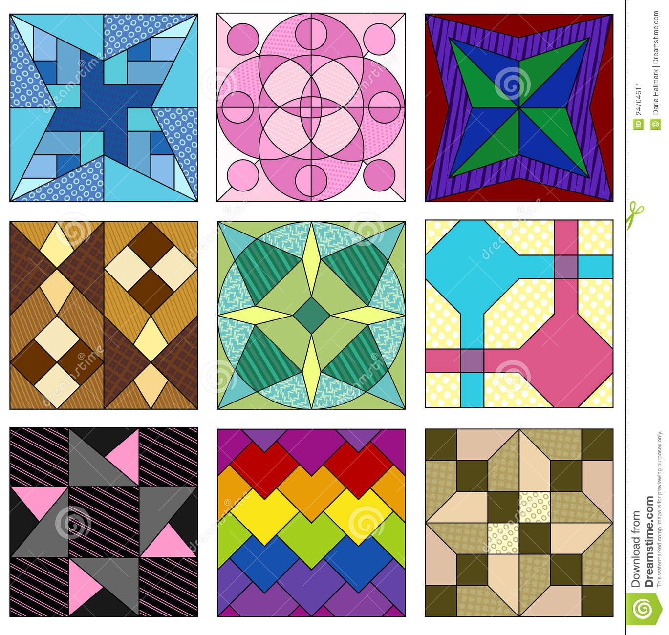 Free Traditional Quilting Patterns : Traditional Quilting Patterns Royalty Free Stock Photography - Image: 24704617