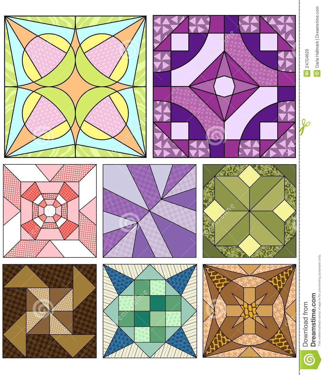 Free Traditional Quilting Patterns : Traditional Quilting Patterns Royalty Free Stock Images - Image: 24704629