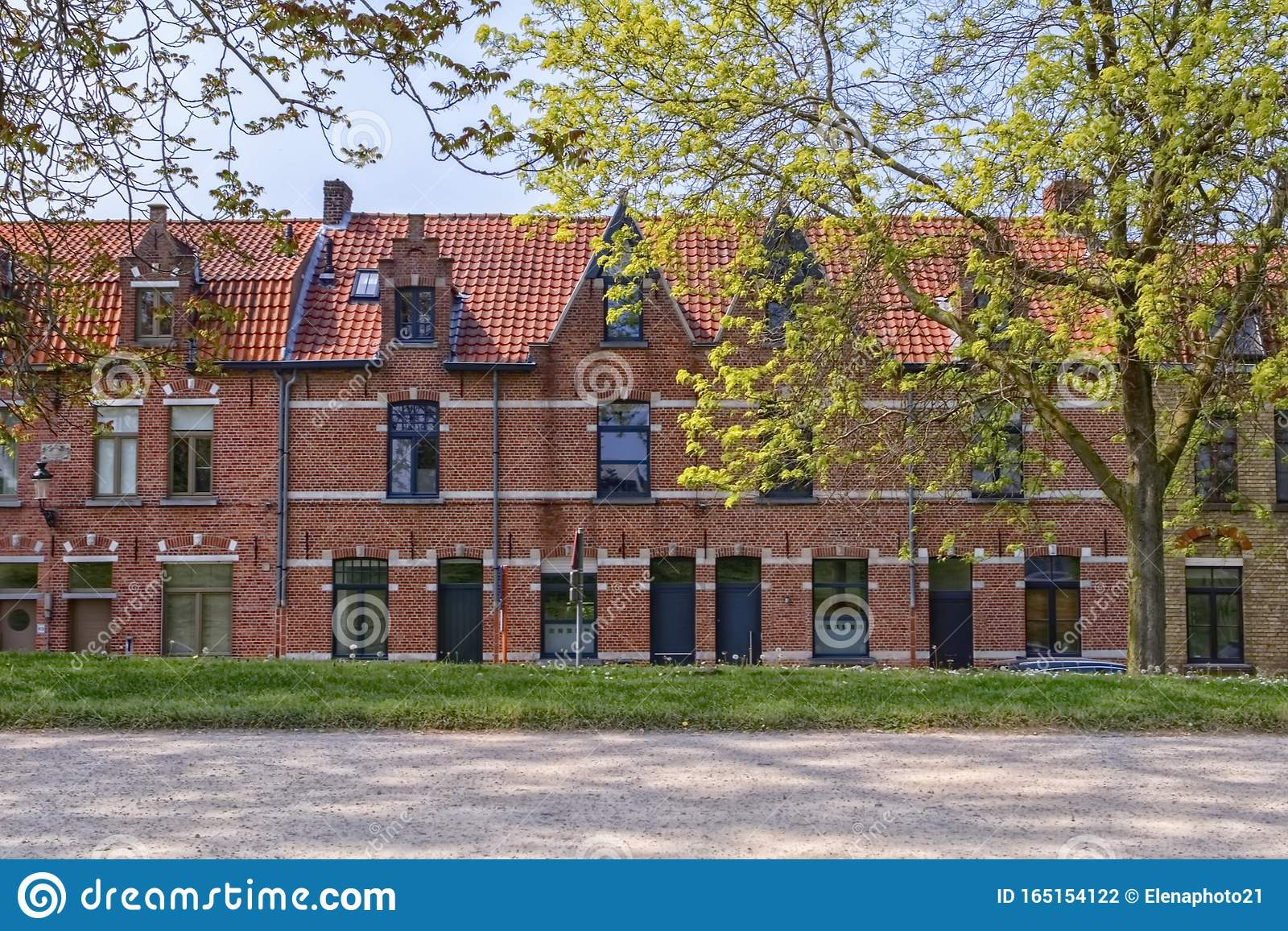 Traditional red brick houses in Bruges, Belgium