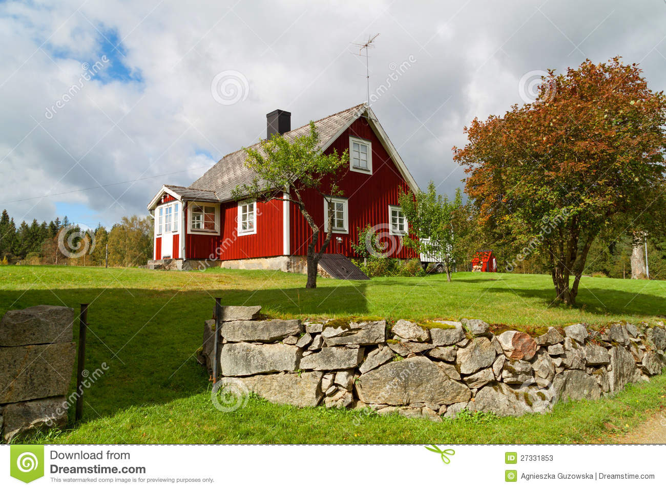 Traditional red swedish cottage house stock photos image for Red cottage