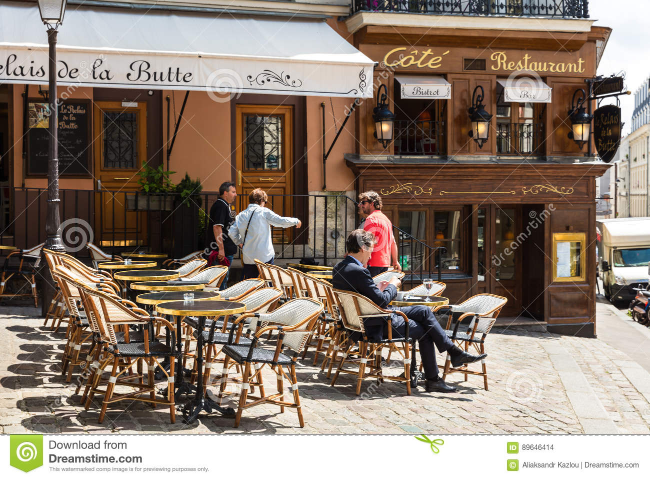 Traditional Restaurant In The Butte Montmartre Paris France