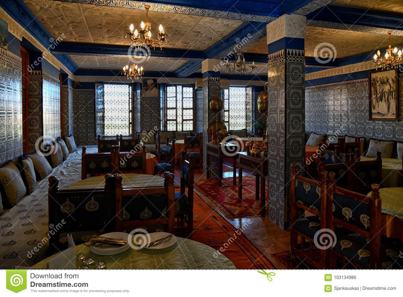 Authentic Arabic Restaurant Morocco Editorial Photo Image Of Carved Composition 103134986