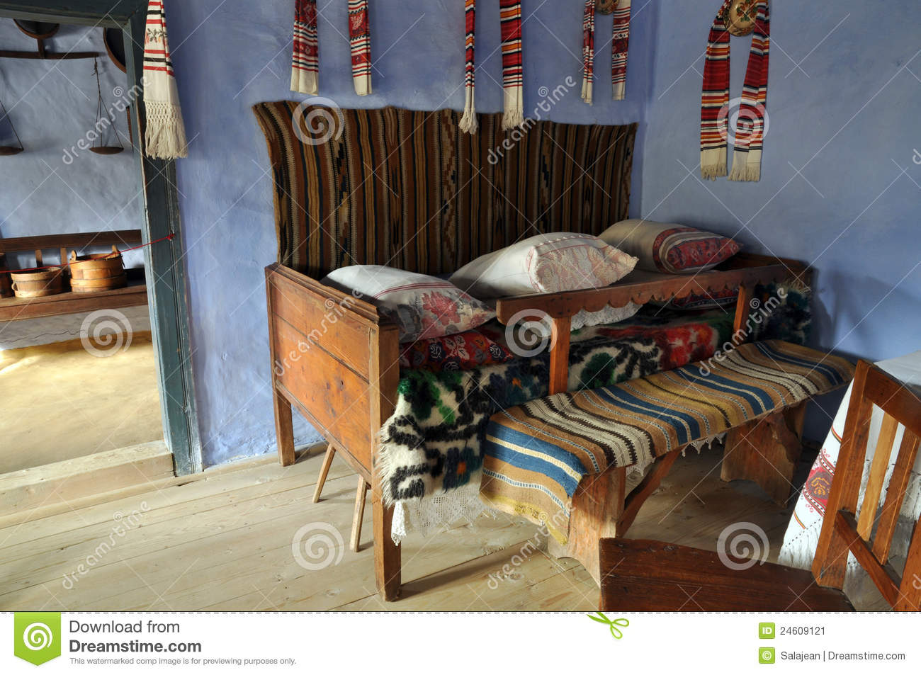 Traditional romanian house interior stock image image 24609121 - Romanian peasant houses ...