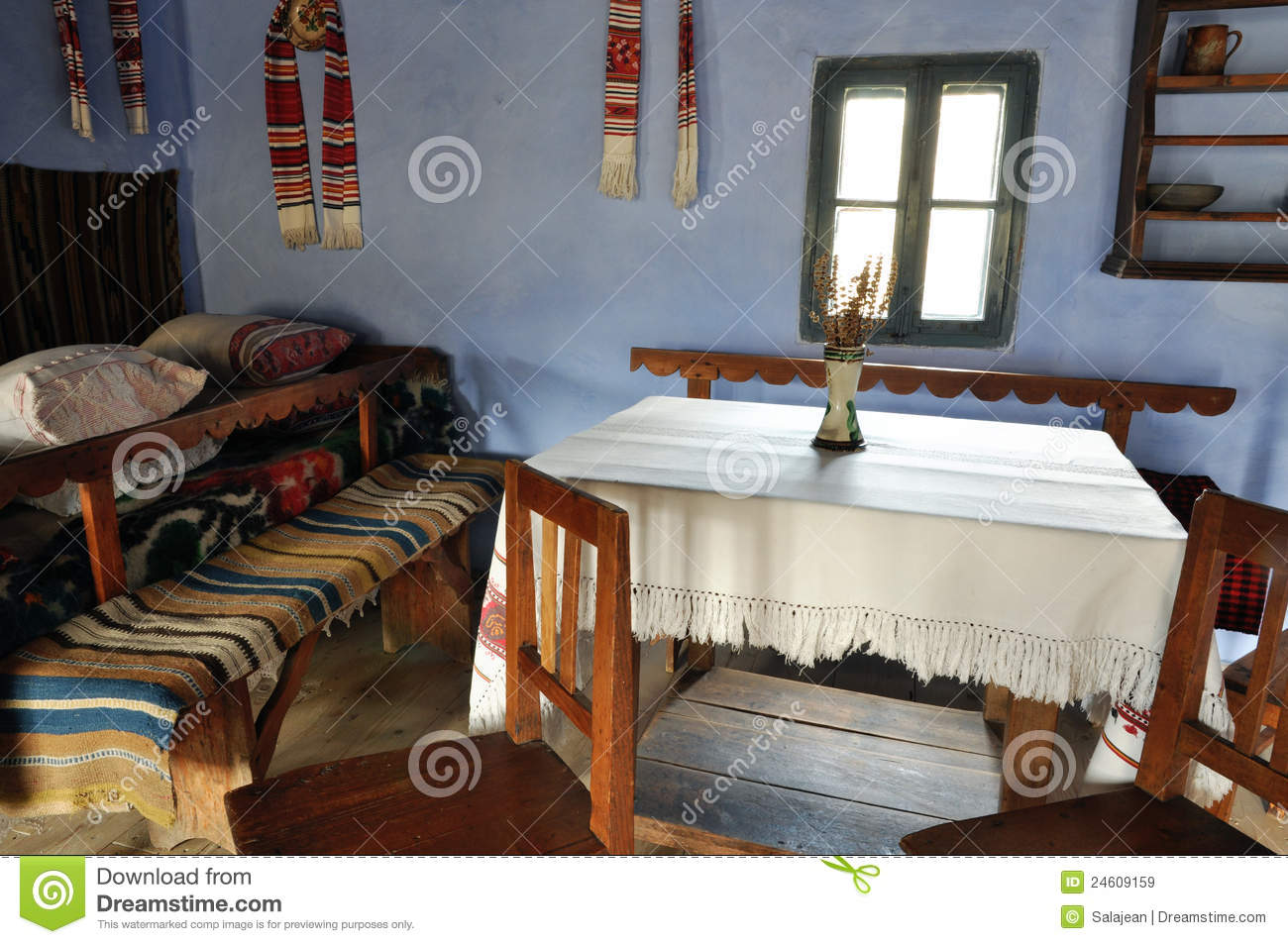 Traditional romanian house interior royalty free stock for Traditional house interior