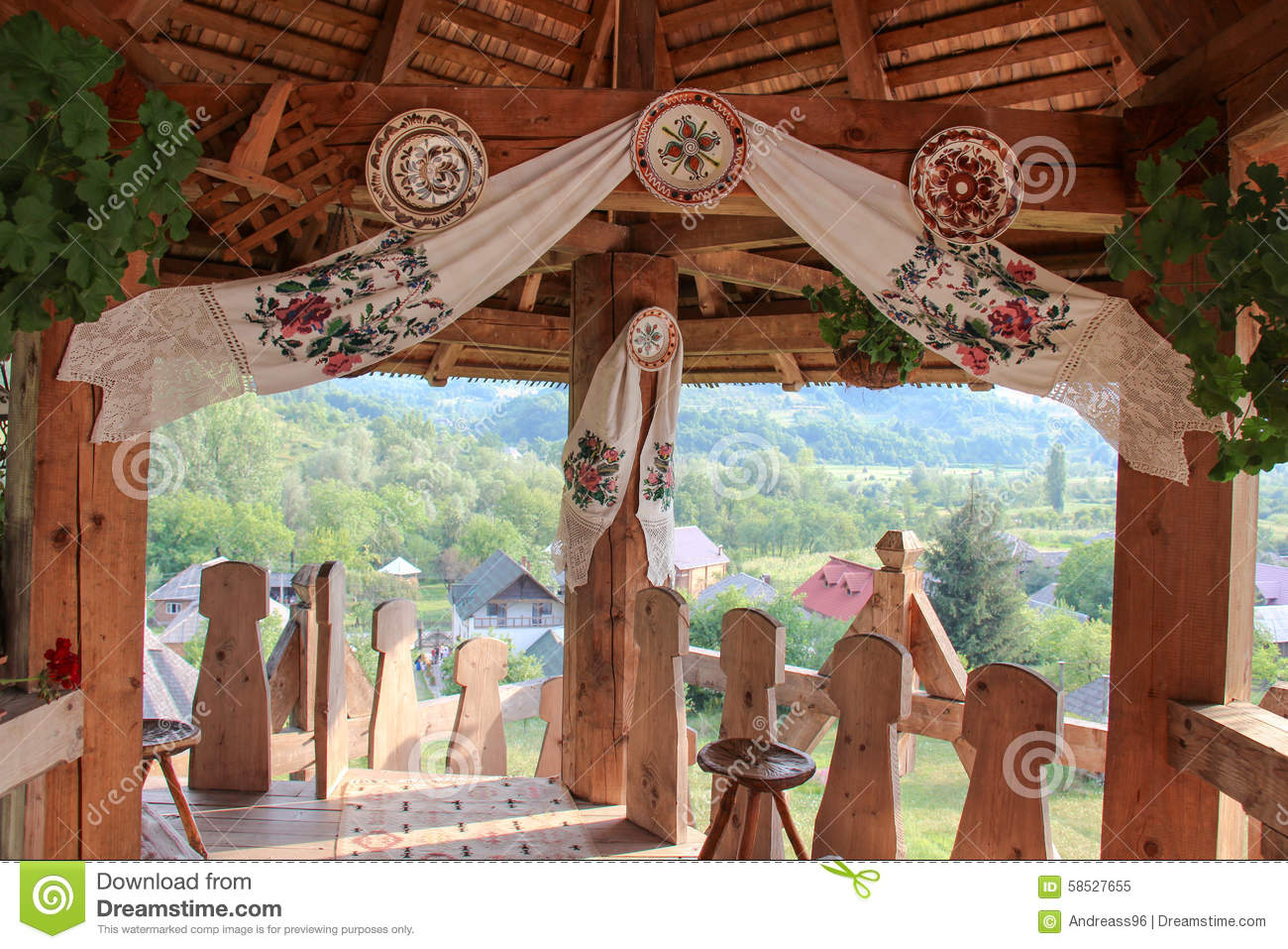 Traditional Romanian House Porch Stock Photo Image 58527655