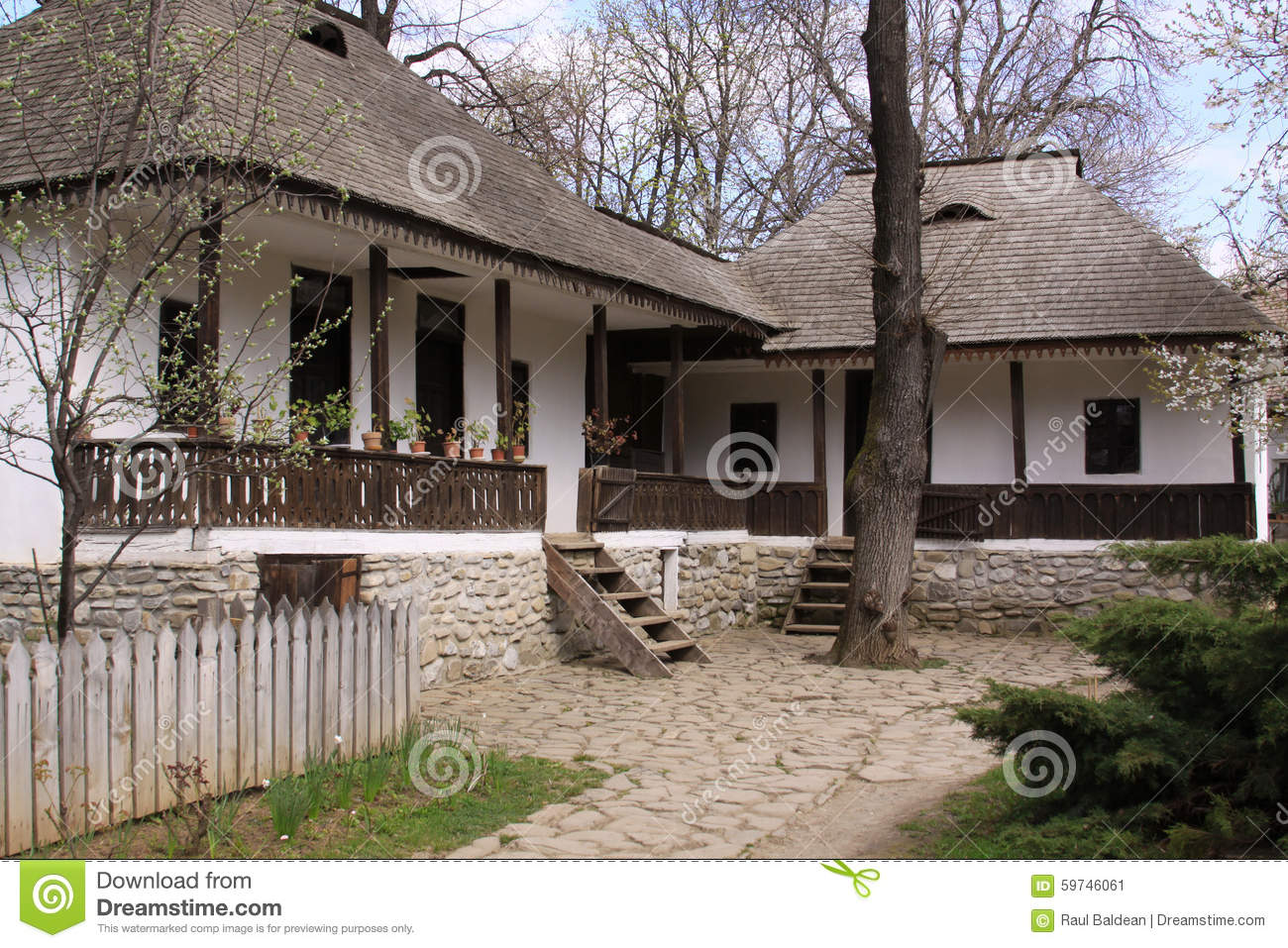 Traditional Romanian Houses Stock Image Image Of Background Grey 59746061