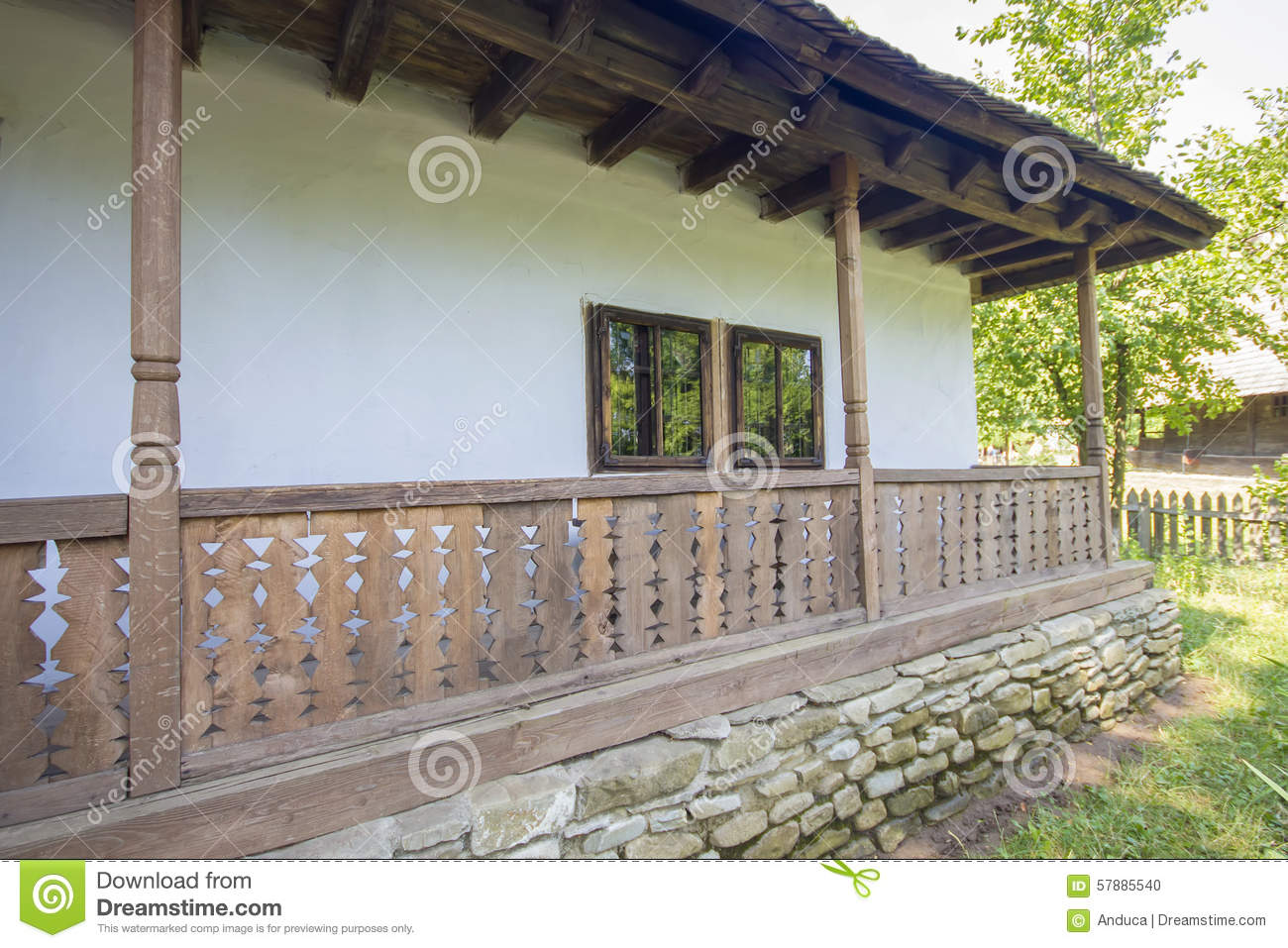 Traditional romanian wooden porch