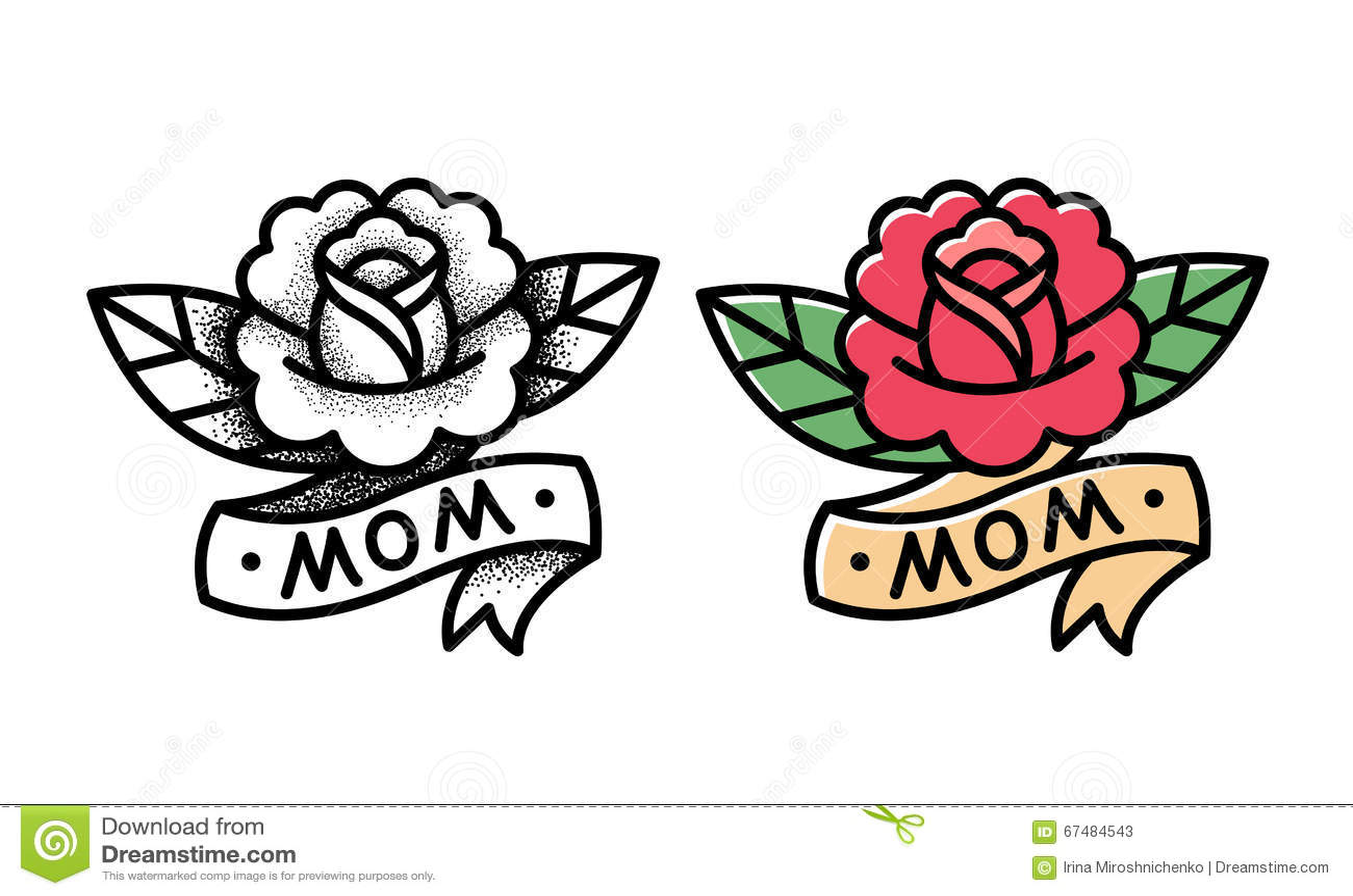 Traditional Rose Tattoo Stock Vector Illustration Of Blackwork