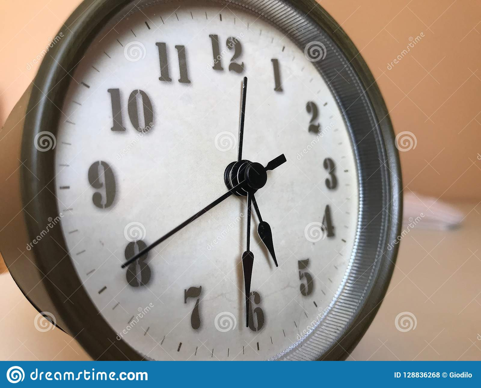 Traditional Round Alarm Clock With Hands Stock Photo Image Of