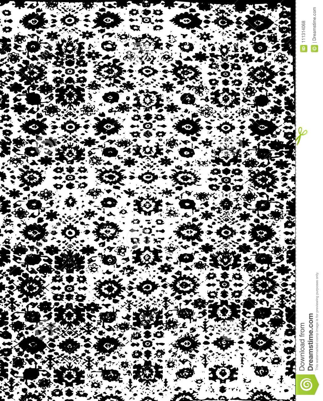 Traditional Rug Pattern In Black And White Color With