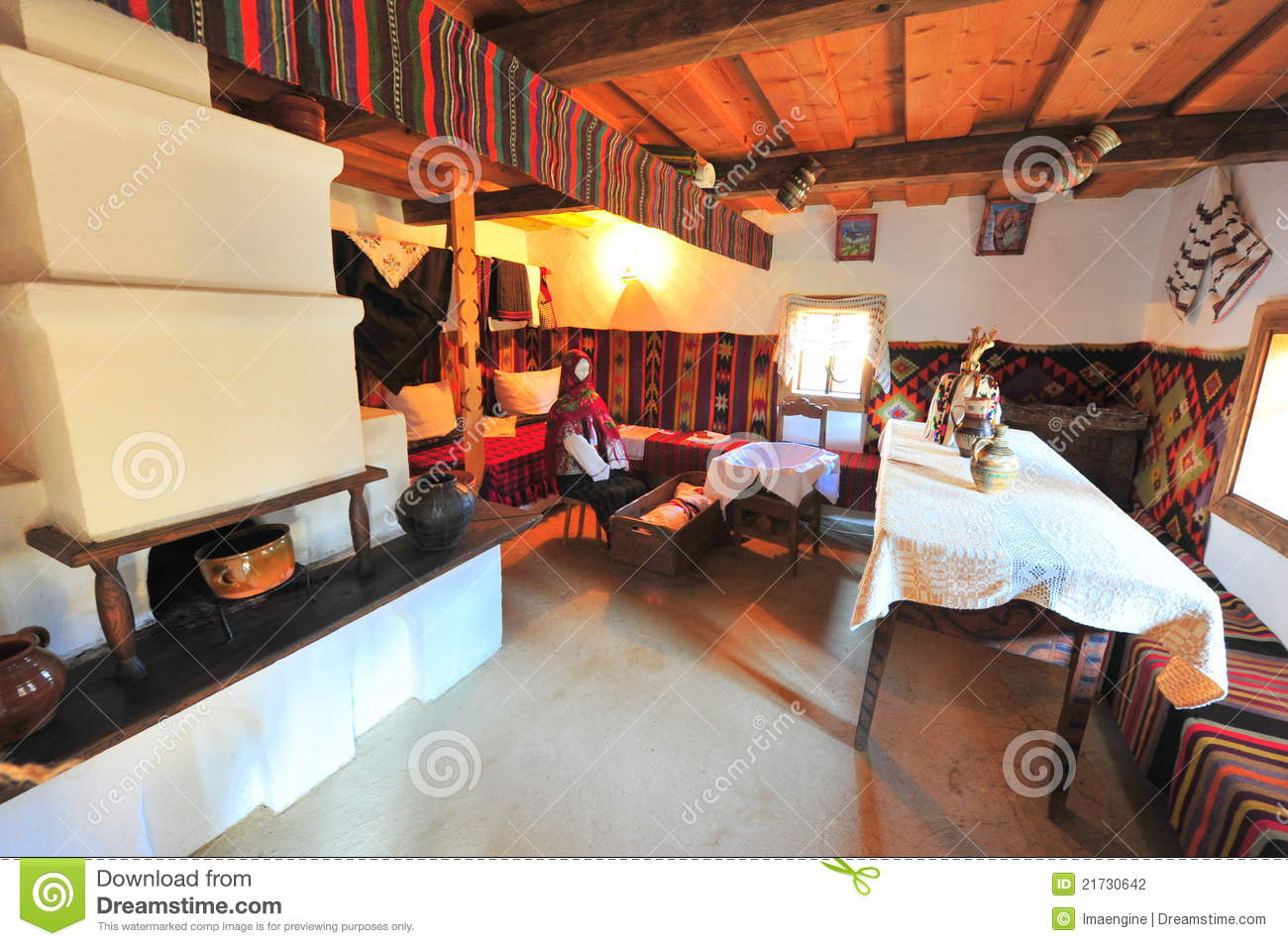 Traditional rural home interior from Bucovina