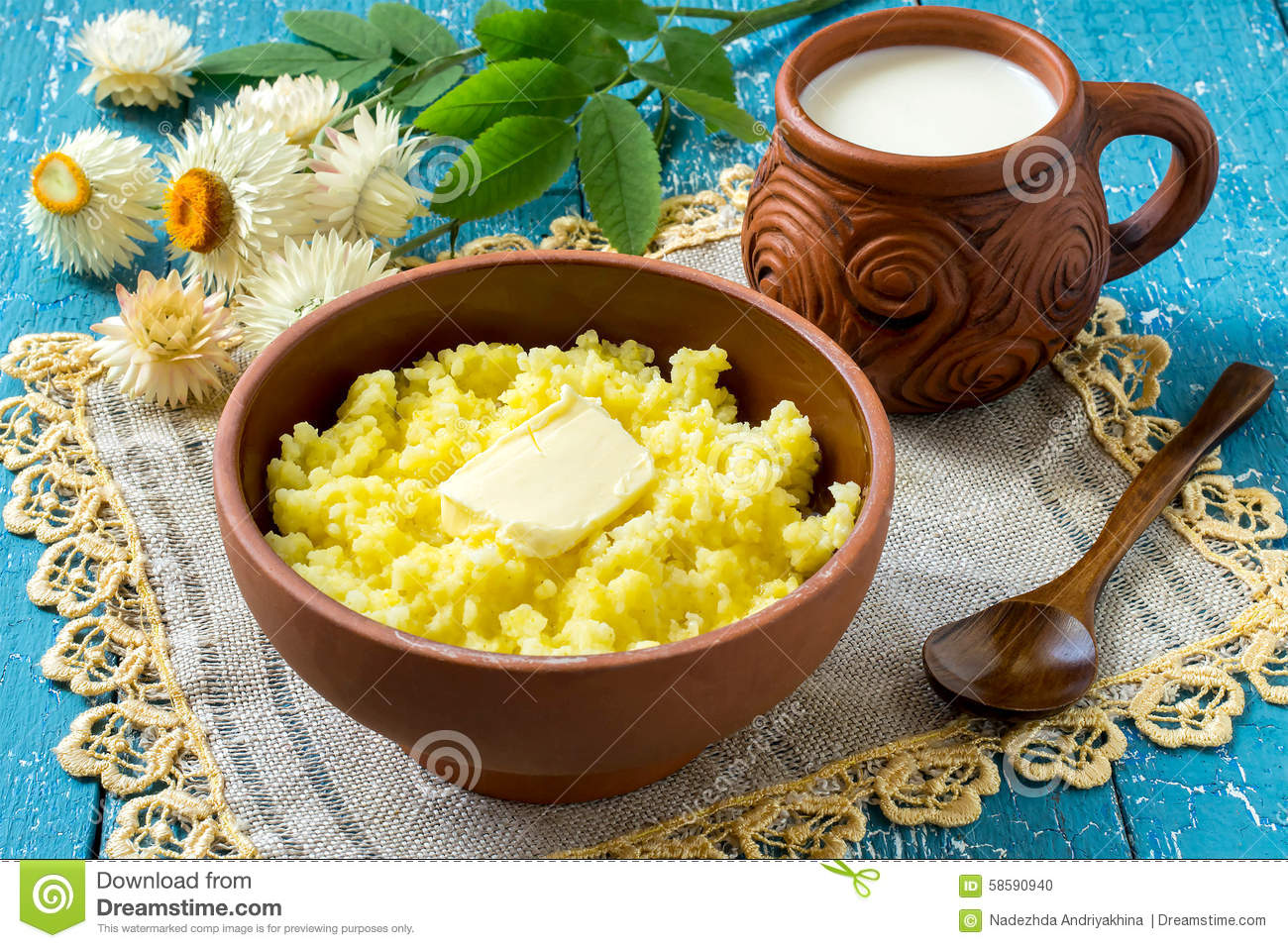 The Traditional Russian Breakfast - Millet Porridge With ...