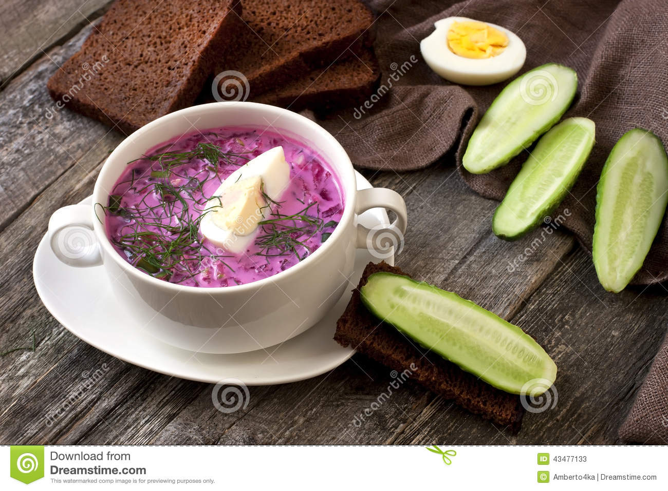 Traditional  Russian cold  soup made of beets, cucumbers and herbs with egg and sour cream