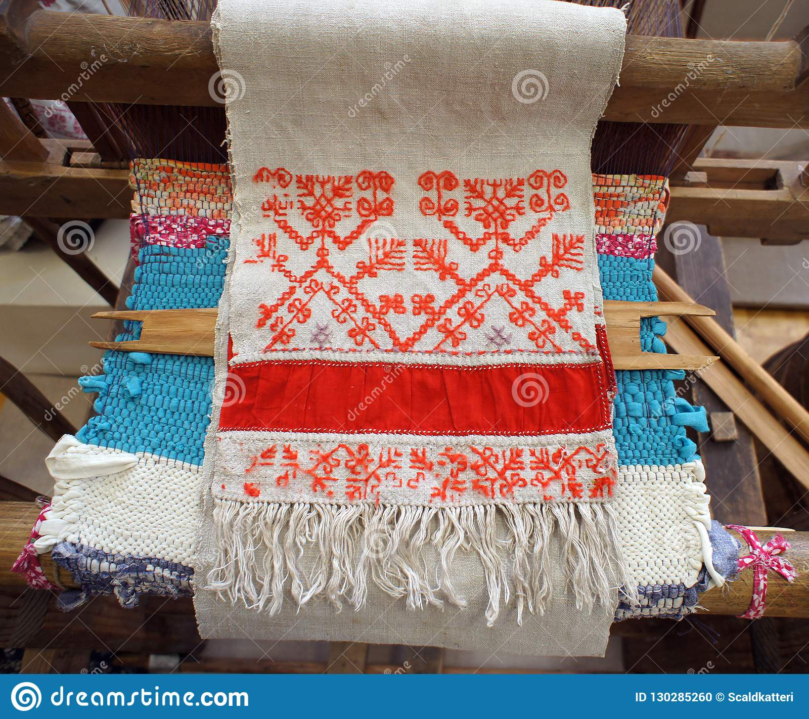 91674ac0d6 Traditional russian folk handmade red thread embroidery at natural white  linen