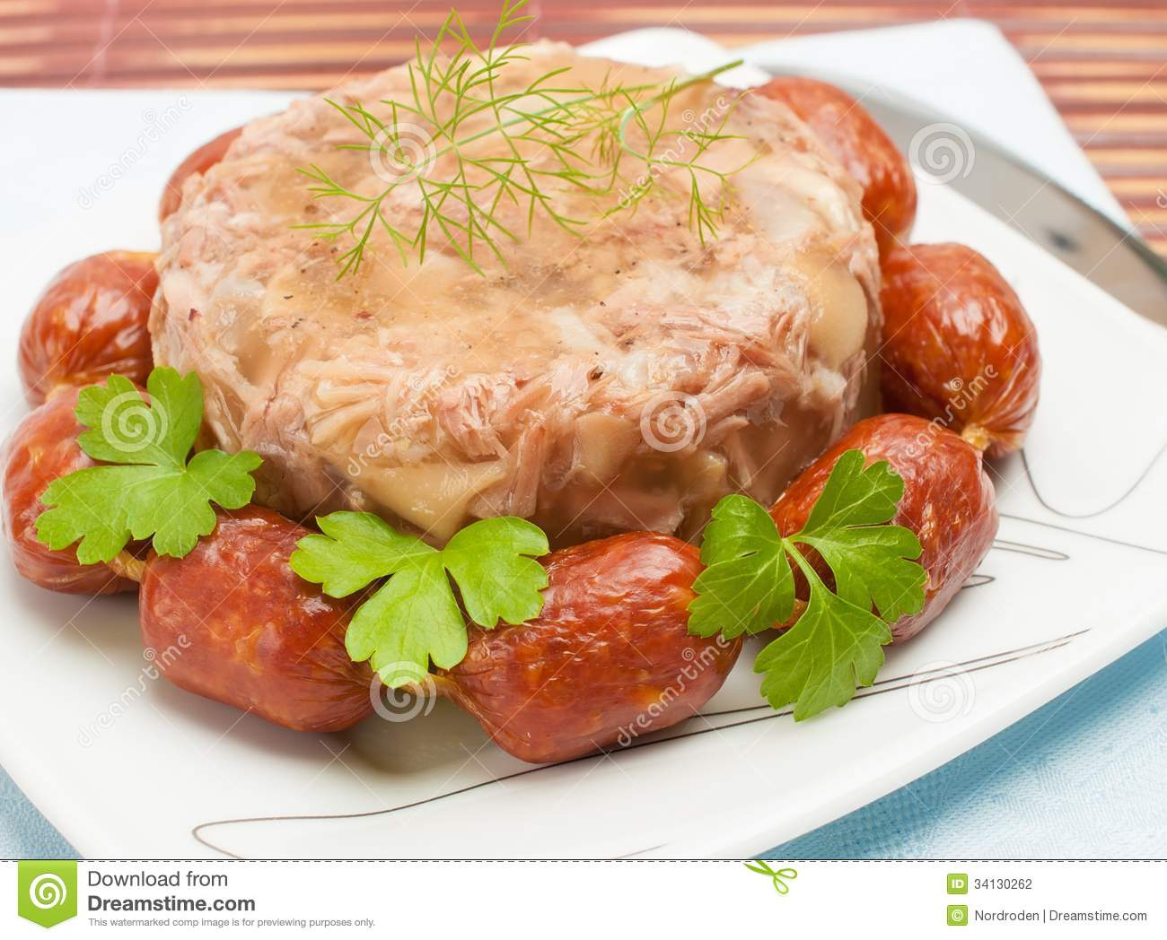 Traditional russian food aspic meat jelly stock for Authentic russian cuisine