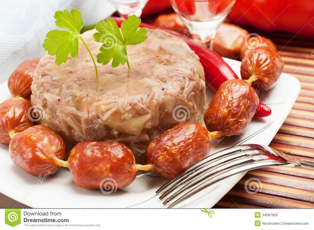 Traditional russian food aspic meat jelly stock photo for Authentic russian cuisine
