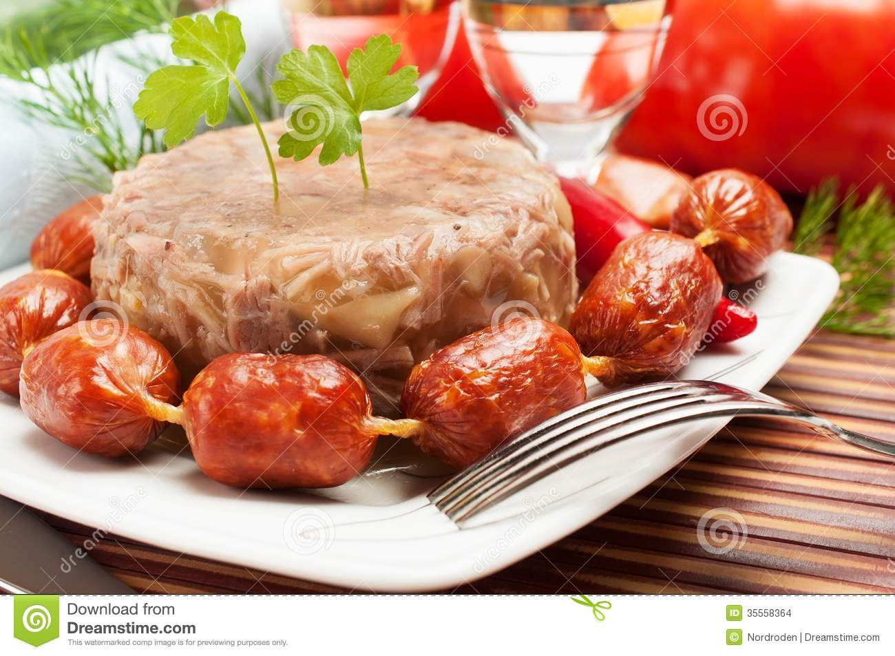Traditional russian food aspic meat jelly stock images for Authentic russian cuisine