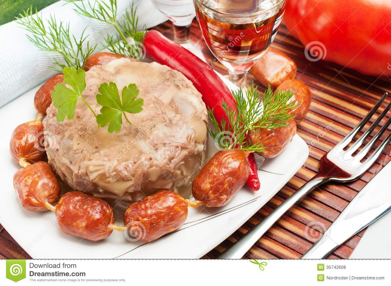 Traditional russian food aspic meat jelly royalty free for Authentic russian cuisine
