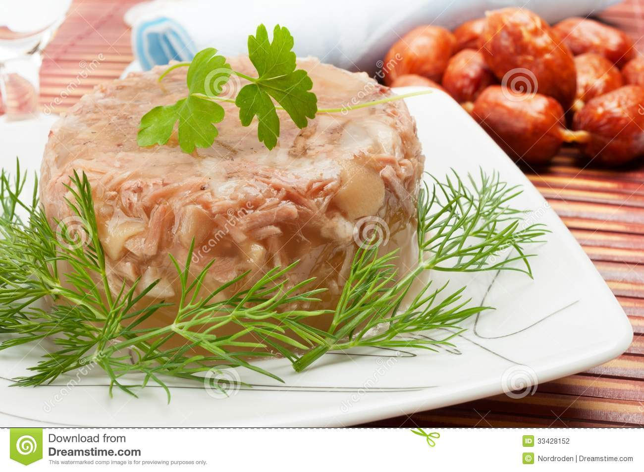 Traditional russian food meat in aspic stock photography for Authentic russian cuisine