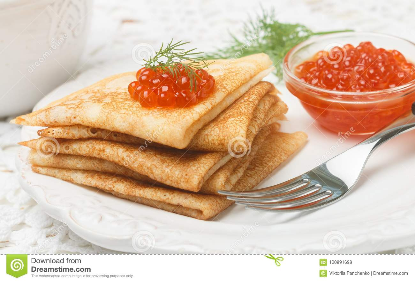 Traditional Russian Pancakes Blini With Salmon Caviar Stock