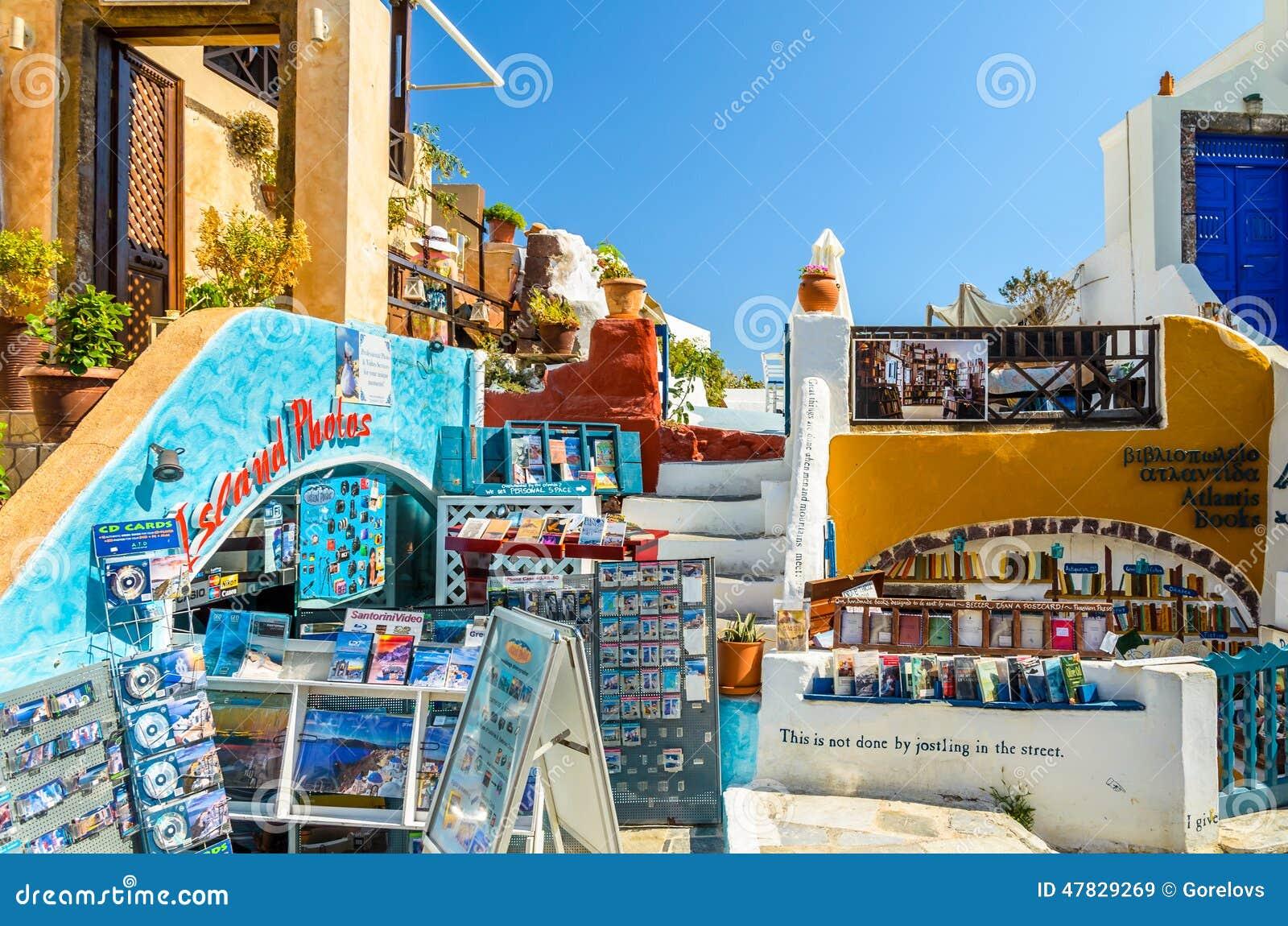 Traditional Santorini S Buildings And Souvenir Shop Editorial Stock Image Image 47829269