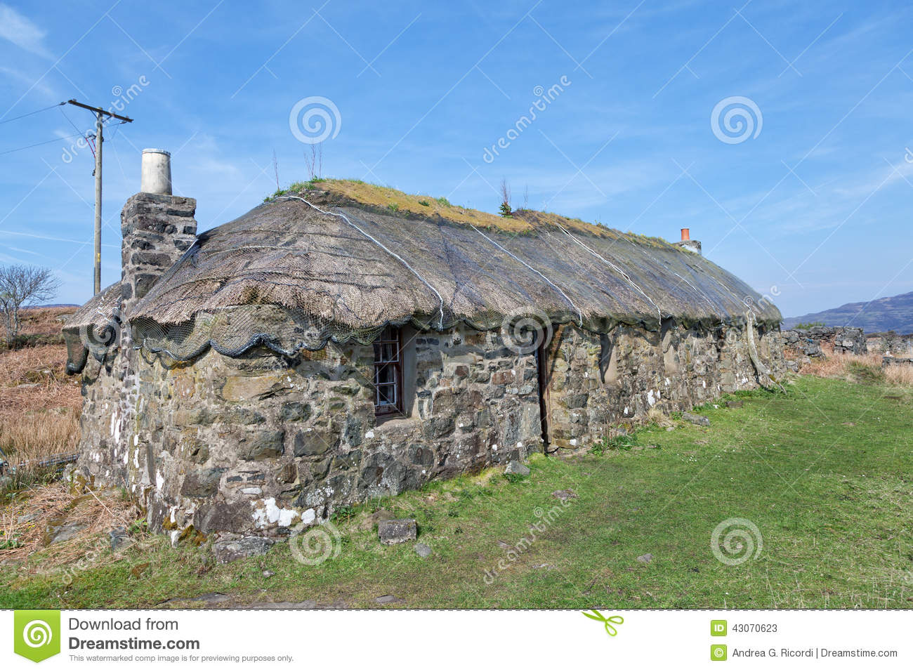 Traditional Scottish Thatched Croft House Stock Photo