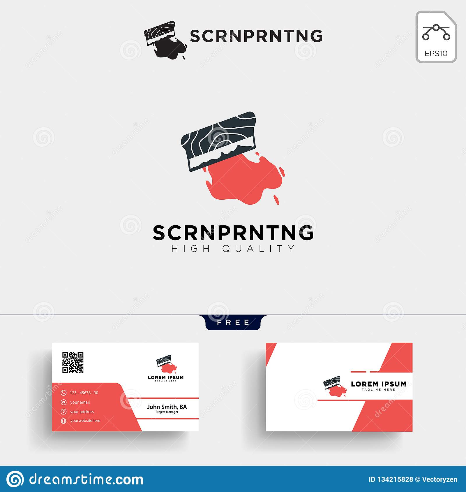 Traditional Screen Printing Logo Template And Business Card Stock