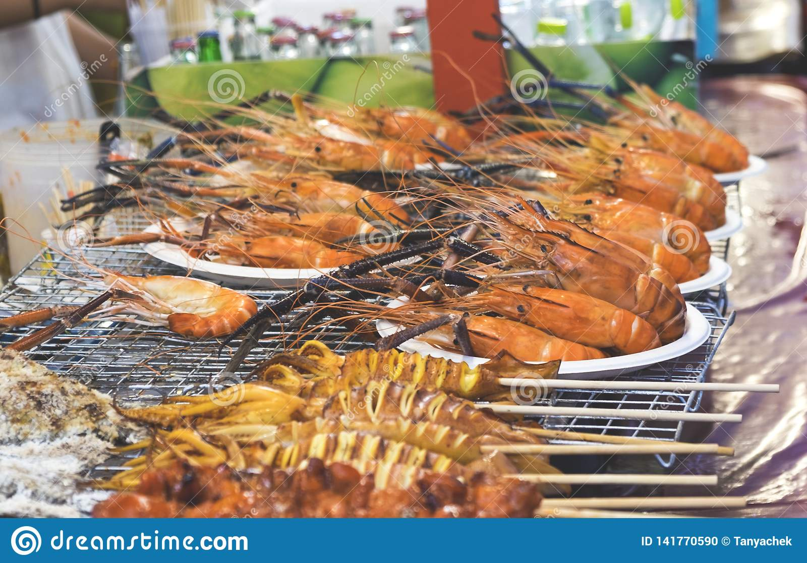 Traditional sea food in the street of Thailand