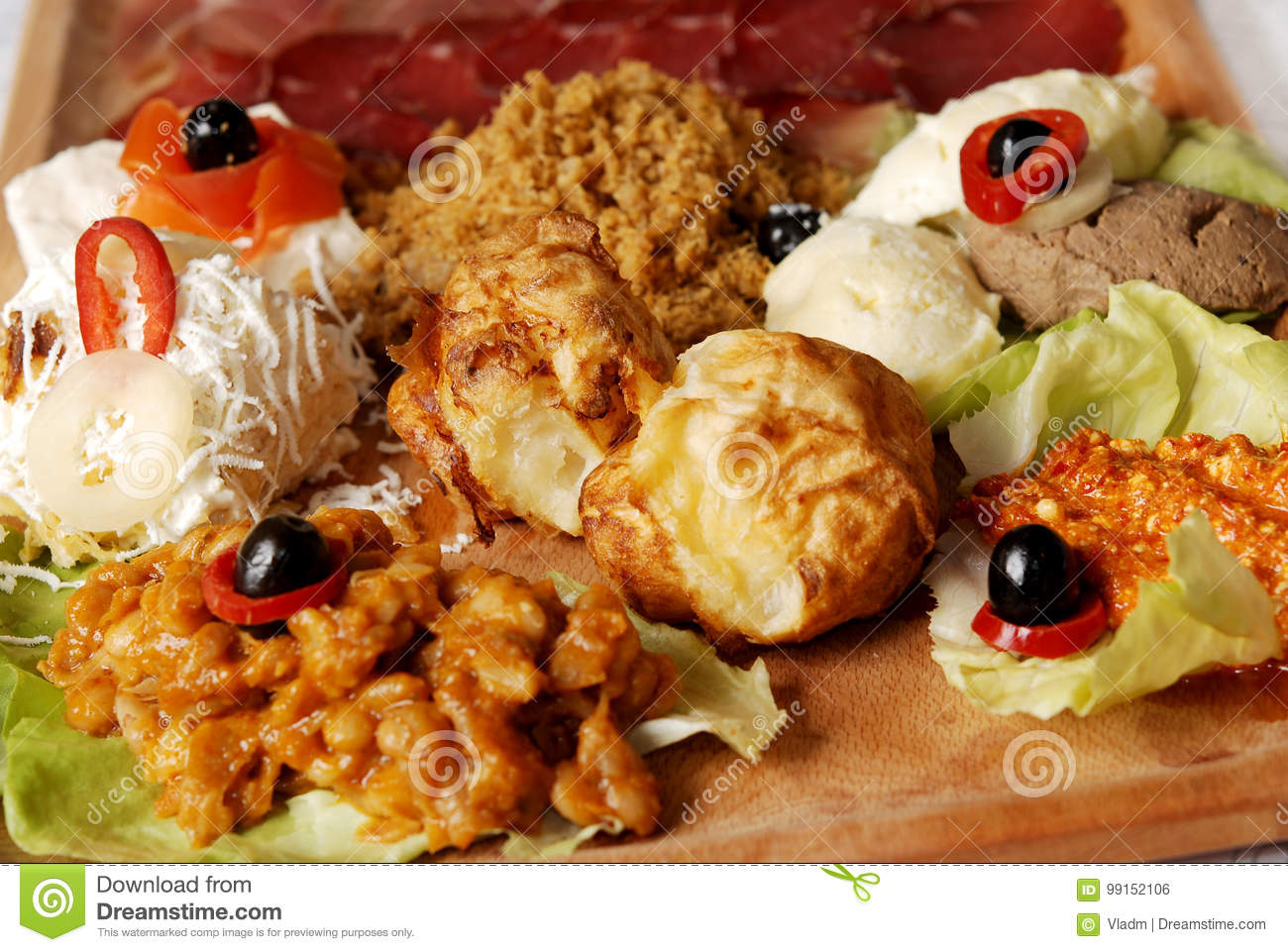 Traditional Serbian food plate with different kind of meals. Appetizer