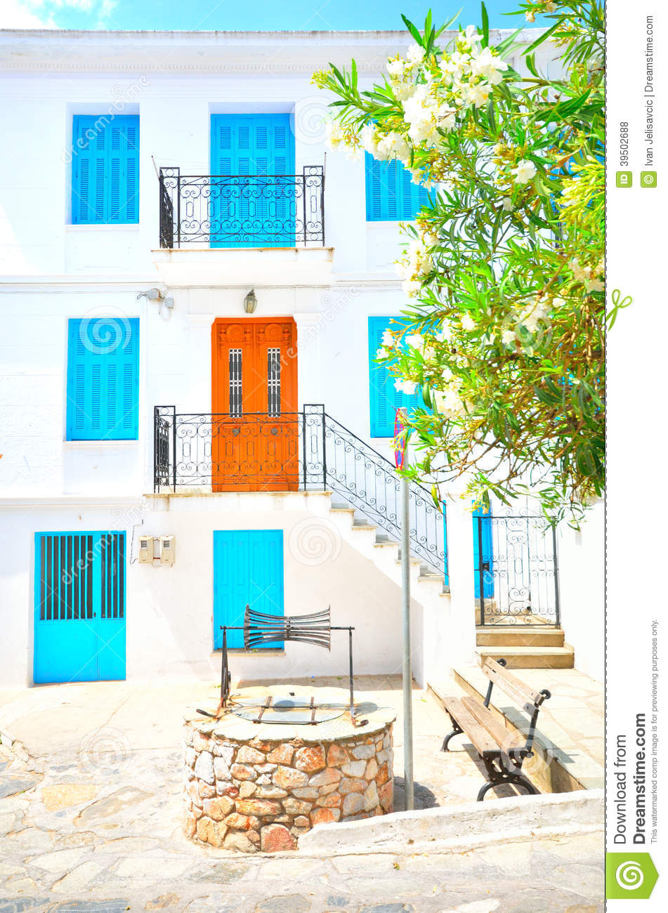 Traditional Skopelos with painted door and windows, Greece