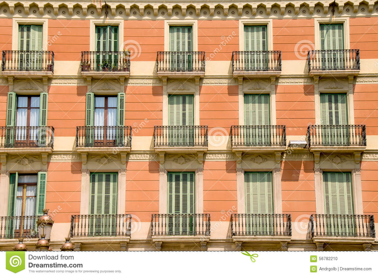 Traditional spain house with typical balconies stock photo for Traditional balconies