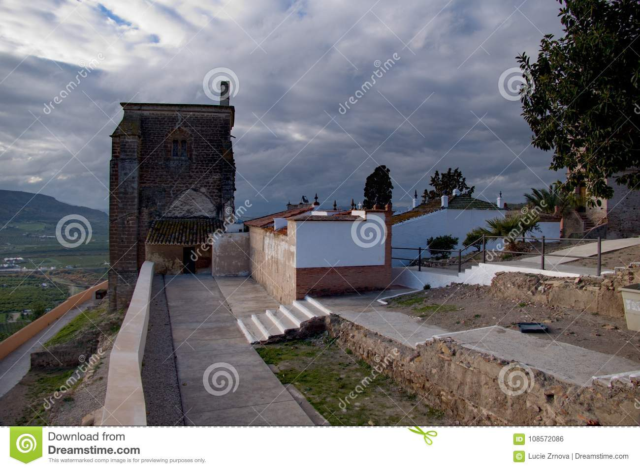 Traditional Spanish Architecture In Alora Village Stock Photo