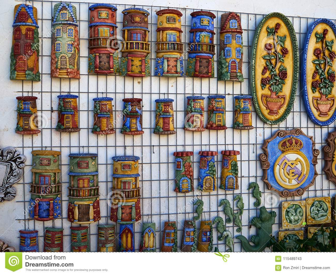 Traditional Spanish Colorful Ceramic Wall Decoration Stock Image Image Of Ornament Antique 115489743