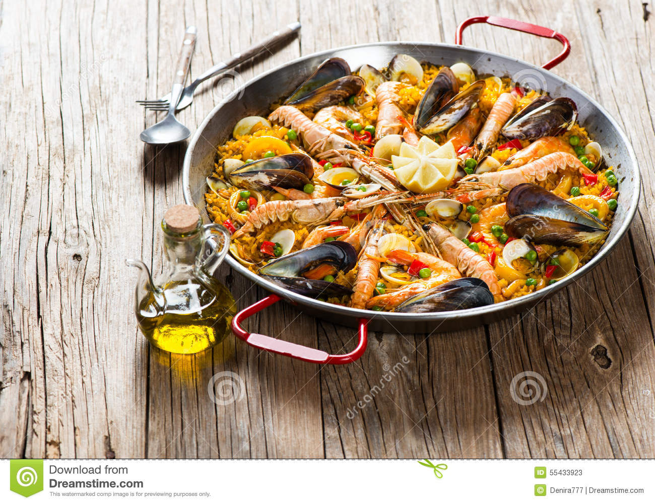 Traditional Spanish Food Paella Stock Image - Image of ...
