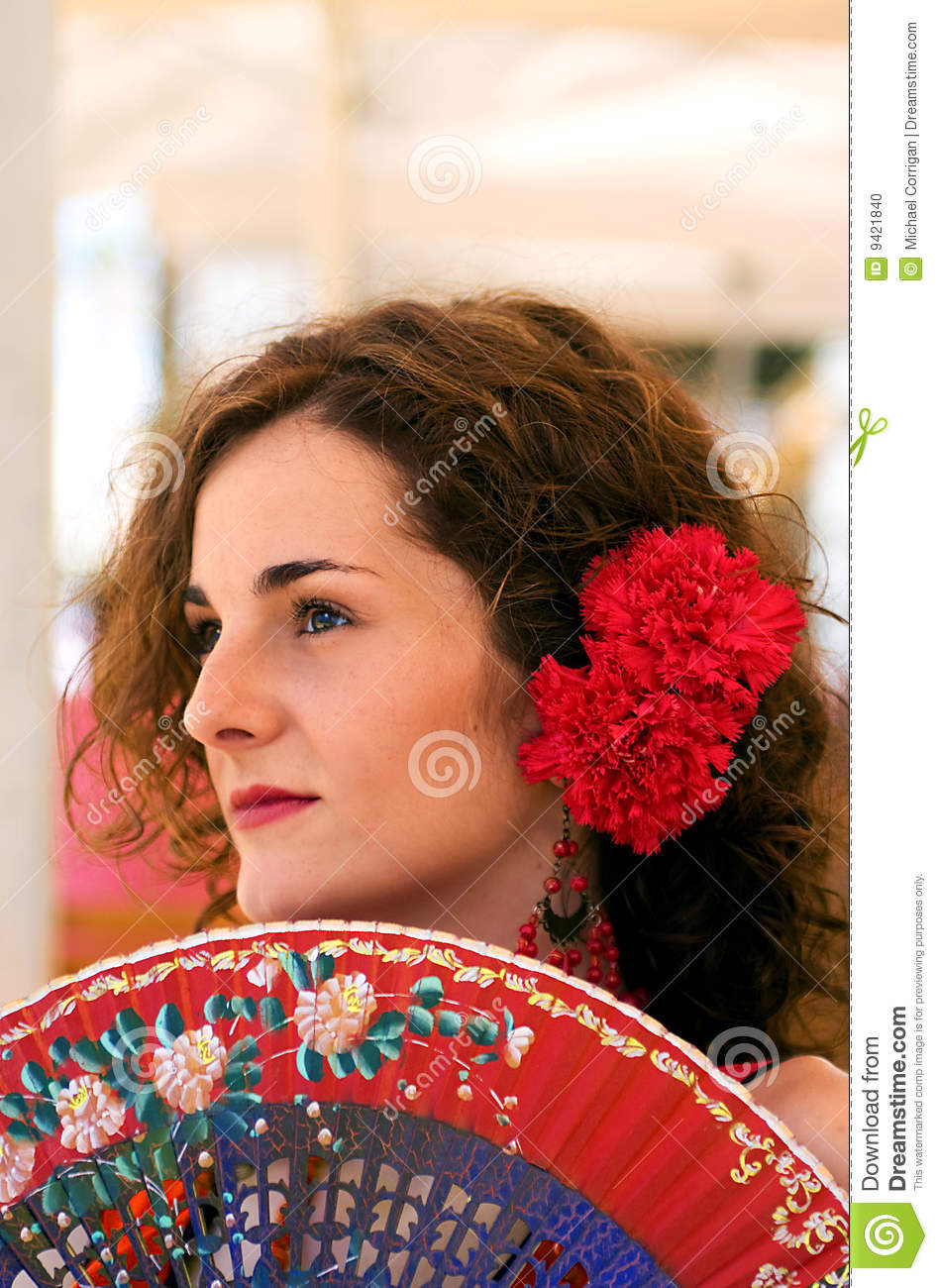 Traditional Spanish Woman With Red Fan Stock Photo - Image -1432