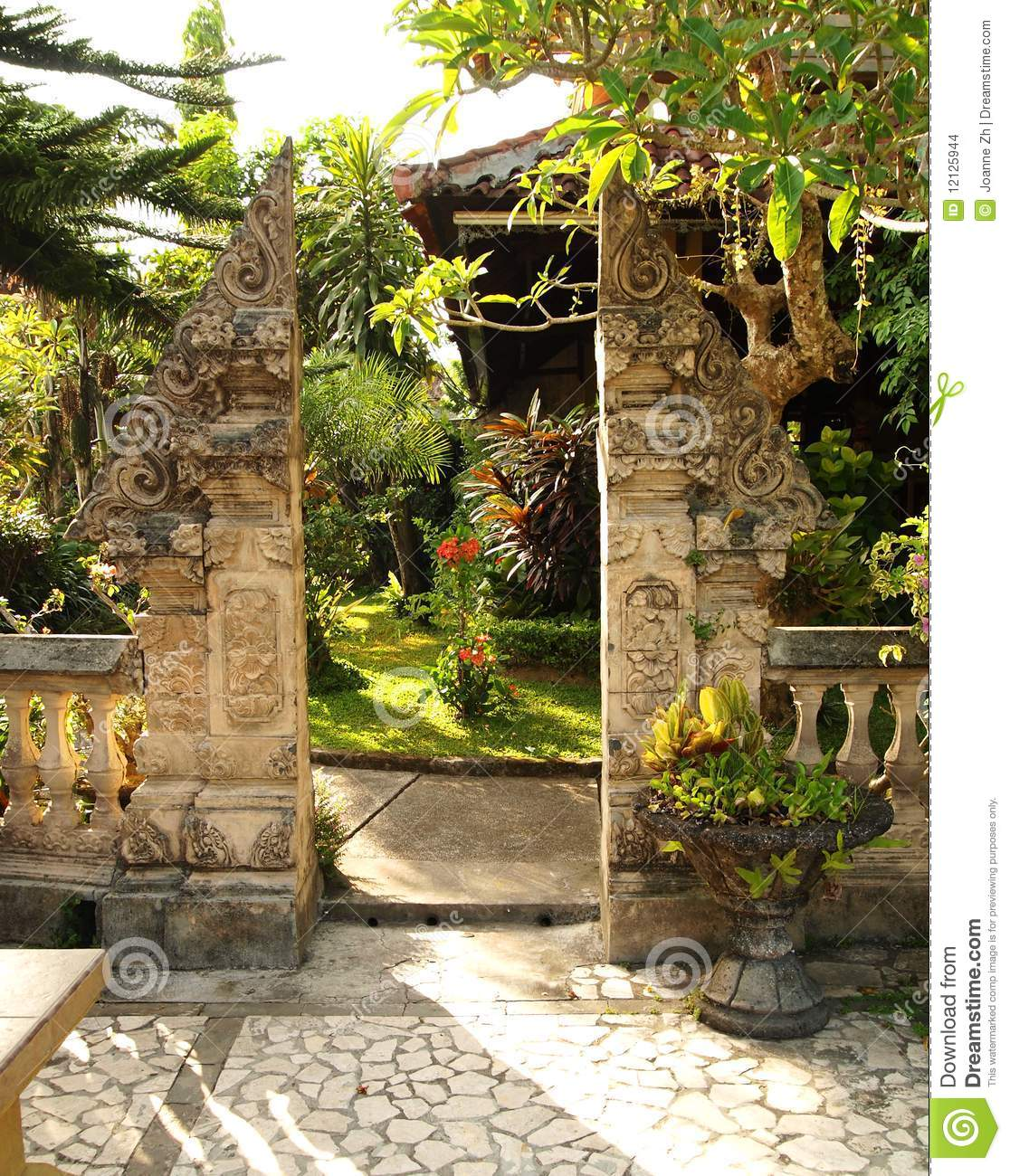 Traditional Split Gate In Balinese Garden Stock Photo