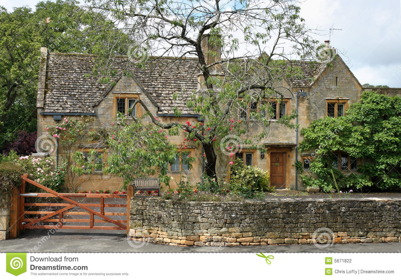 Traditional Stone Medieval English Village House Stock
