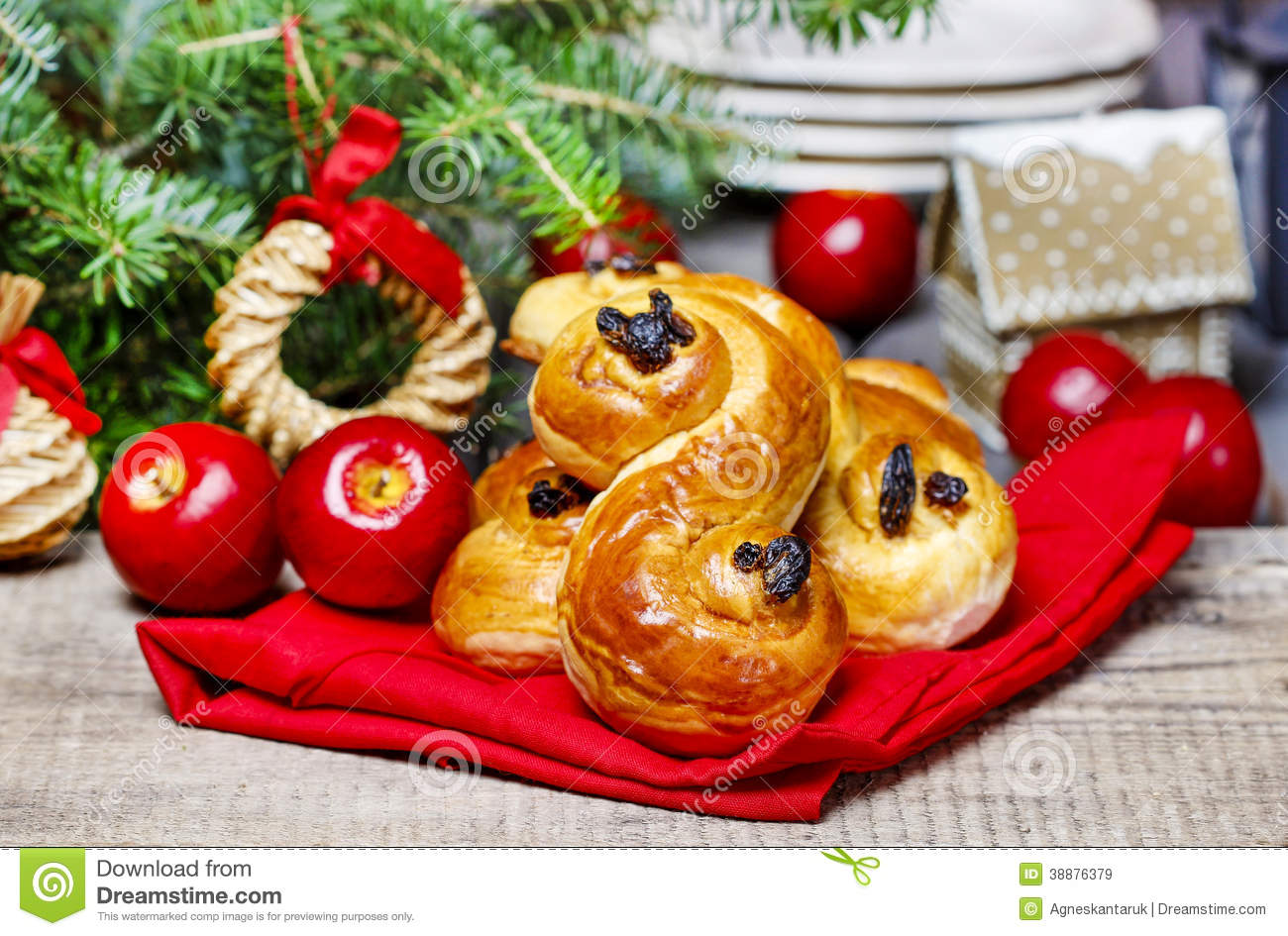 download traditional swedish buns in christmas setting stock image image of danish cake - Traditional Swedish Christmas Decorations