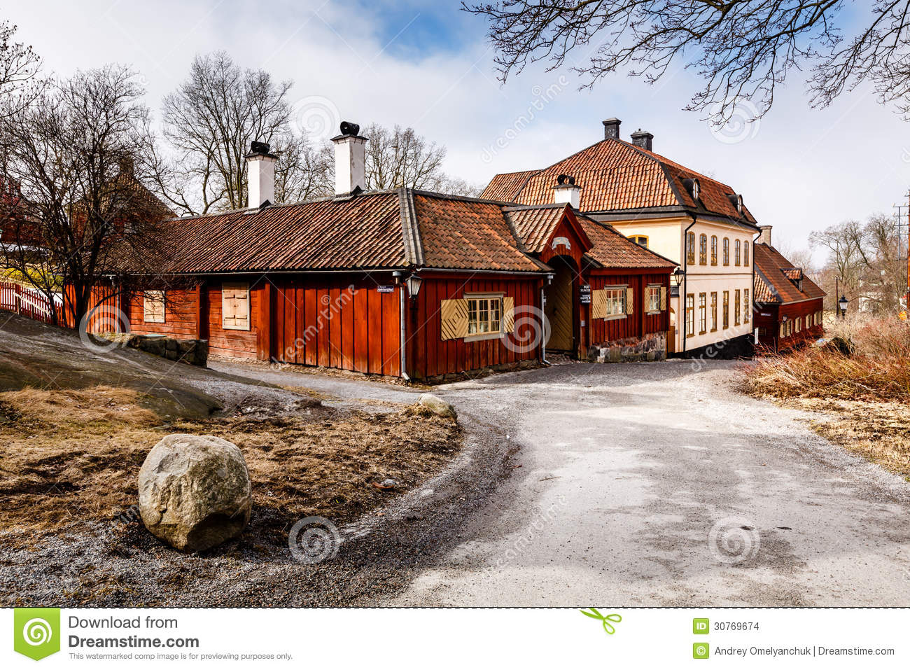 Traditional swedish houses in skansen national park stock for Traditional scandinavian house plans
