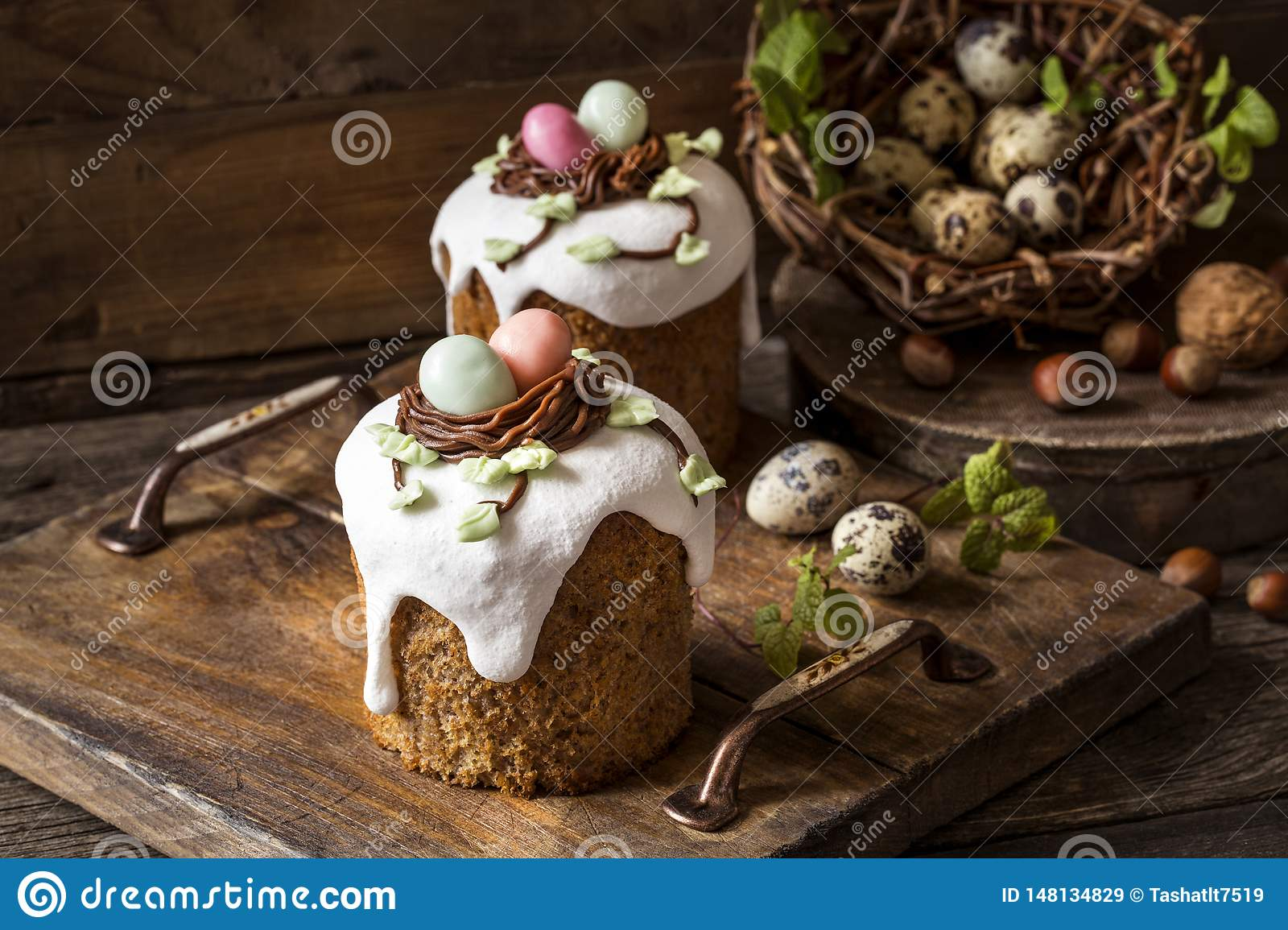 Traditional sweet Easter cakes with icing