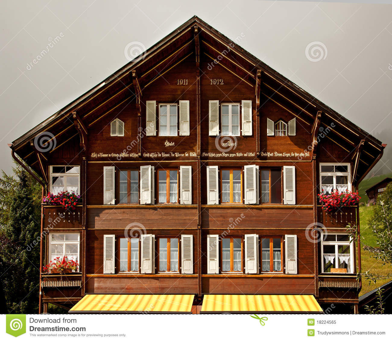 Traditional Swiss Chalet Stock Image Image Of Shelter