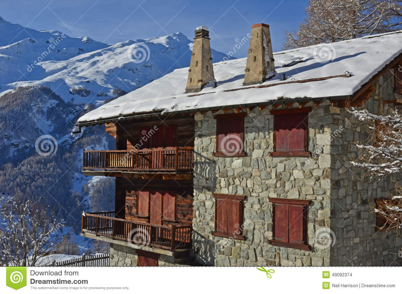 Swiss Mountain House traditional swiss mountain house stock photo - image: 49092374