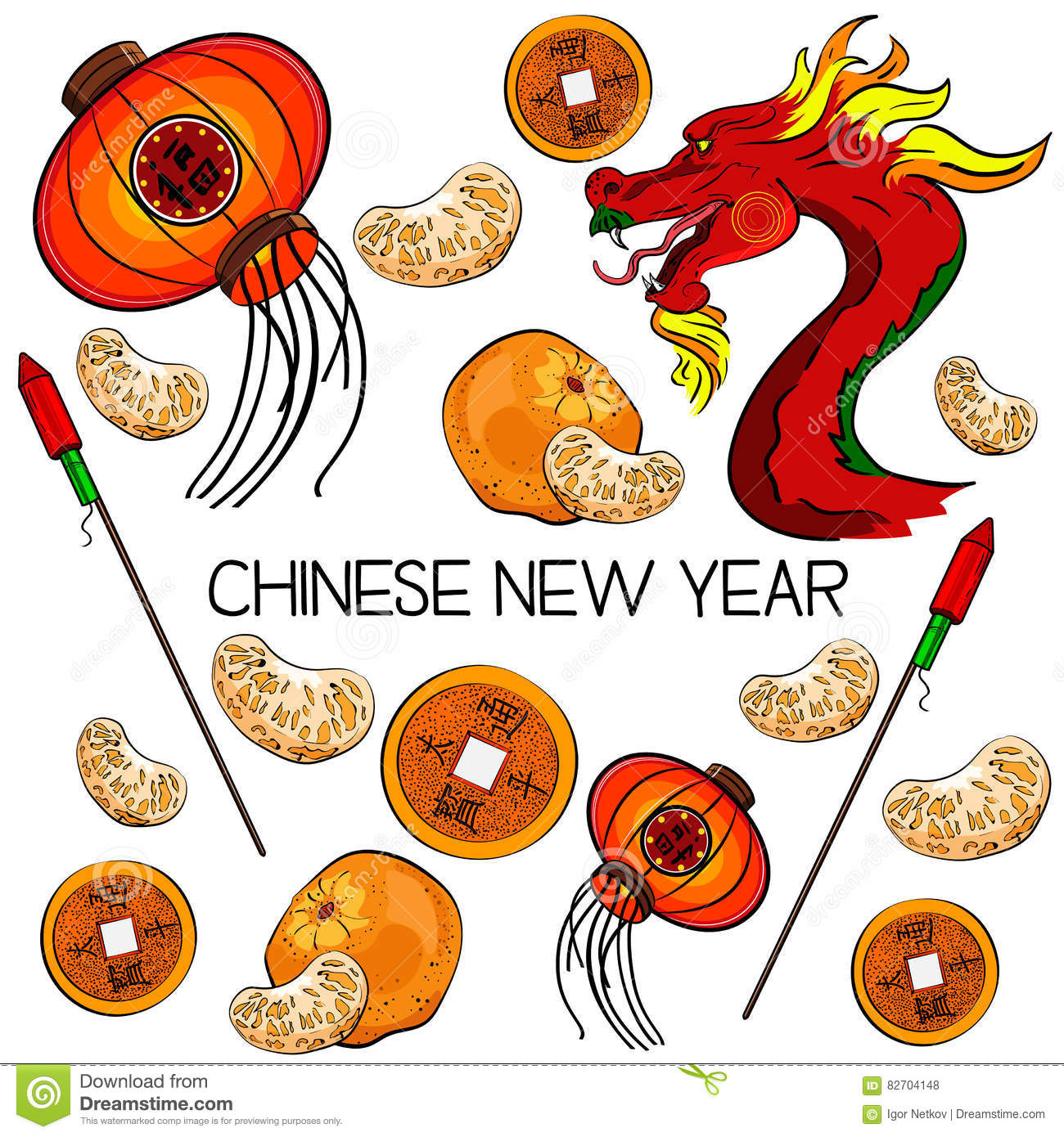 Traditional Symbols Of Chinese New Year Stock Vector Illustration