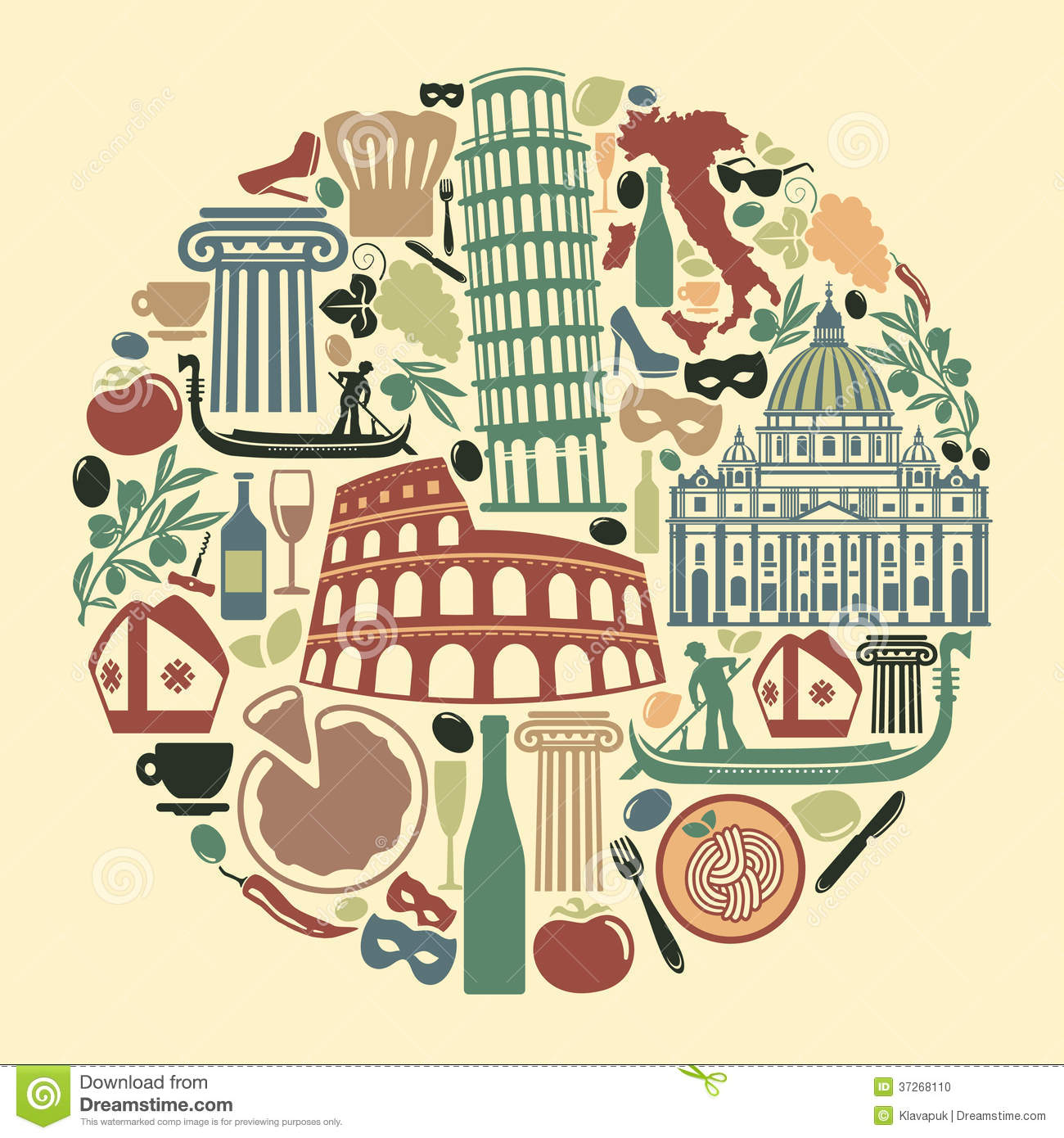 Traditional Symbols Of Italy Illustration 31028513 Megapixl