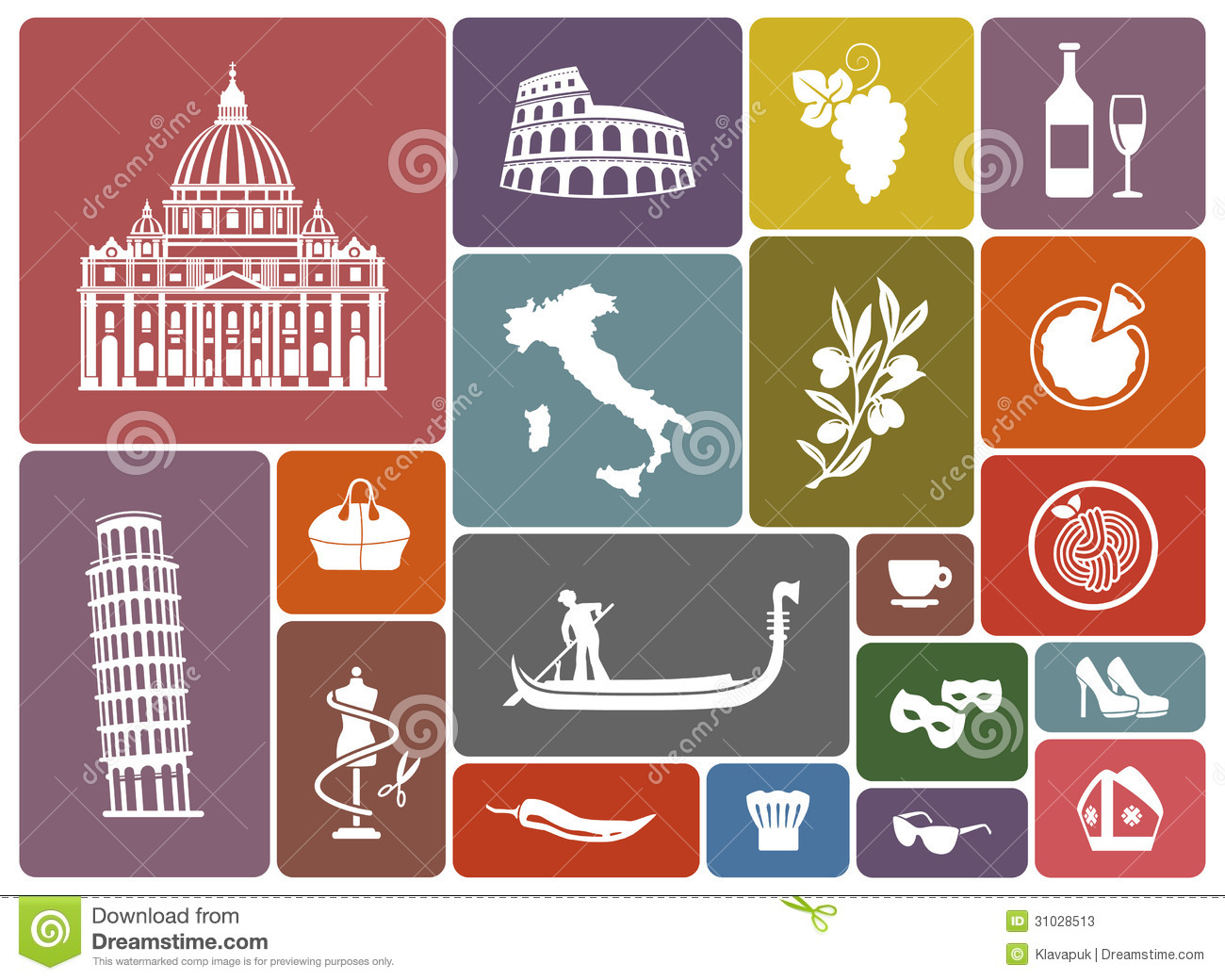 Traditional Symbols Of Italy Stock Vector Illustration Of Italy