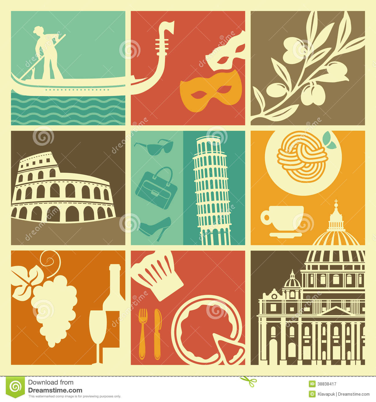 Traditional Symbols Of Italy Stock Vector Illustration Of Monument