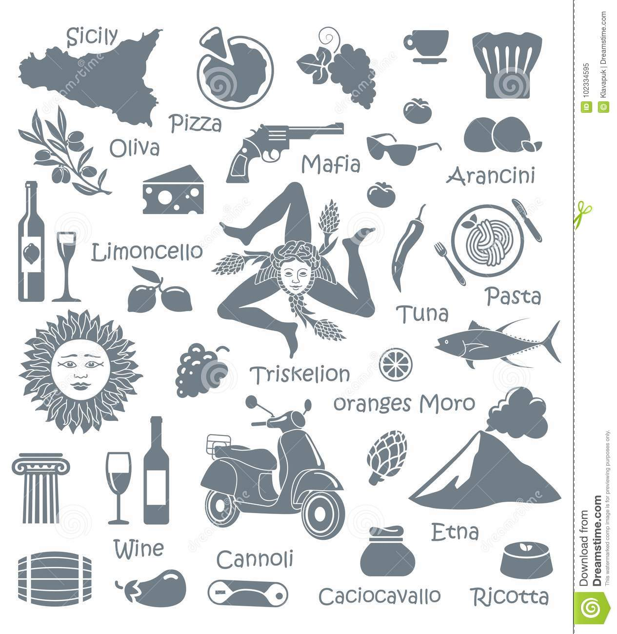 Set Of Icons On A Theme Of Sicily Stock Vector Illustration Of