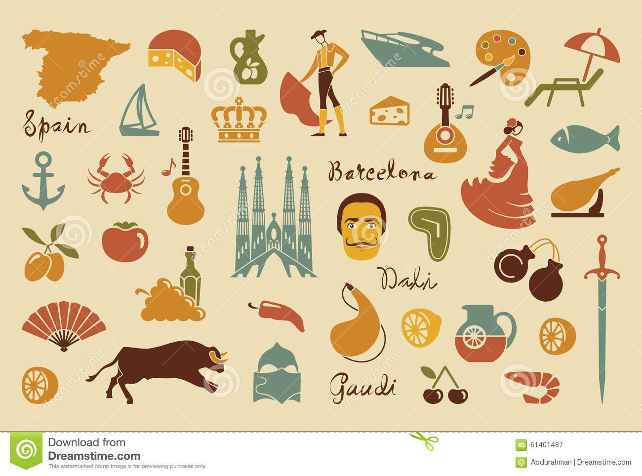 Traditional symbols of spain stock vector illustration of grapes traditional symbols of spain buycottarizona Images